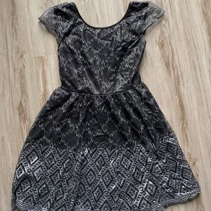 Black sparkly open back dress